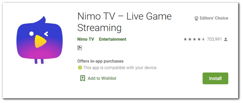 Nimo TV: best game streaming app for android.