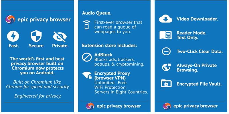 Epic Privacy Browser with AdBlock, Vault, Free VPN