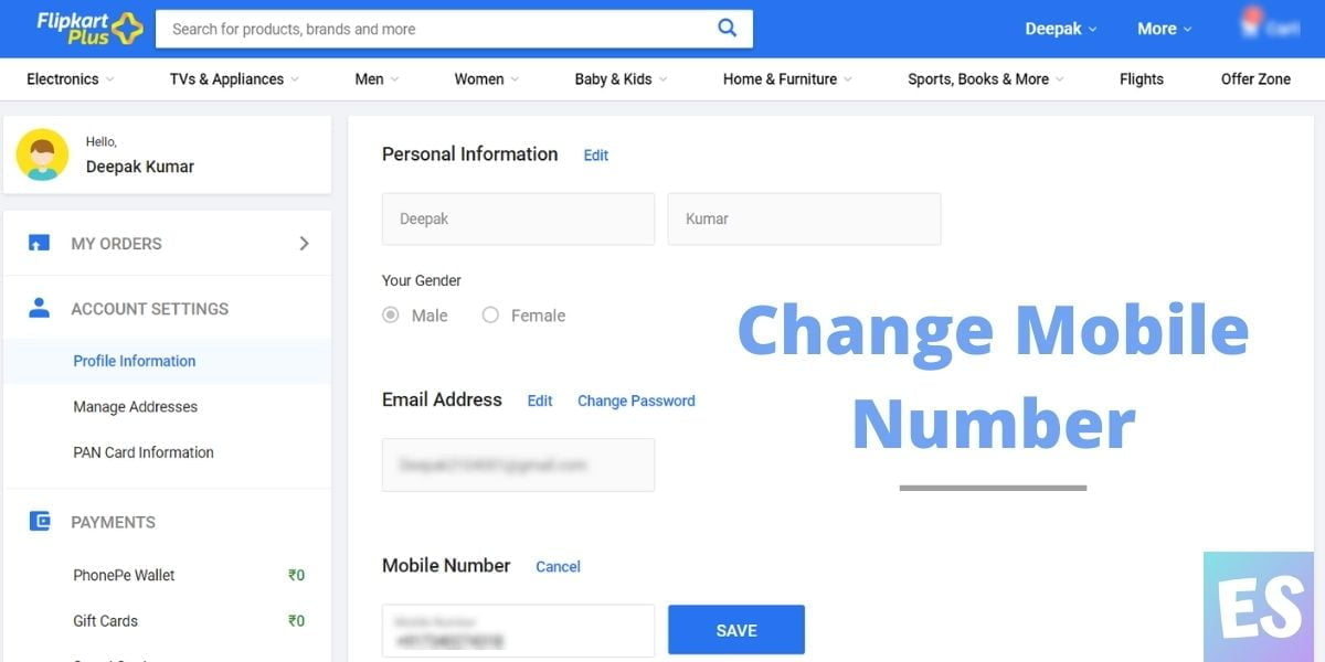 Change Mobile Number And Email ID in Flipkart
