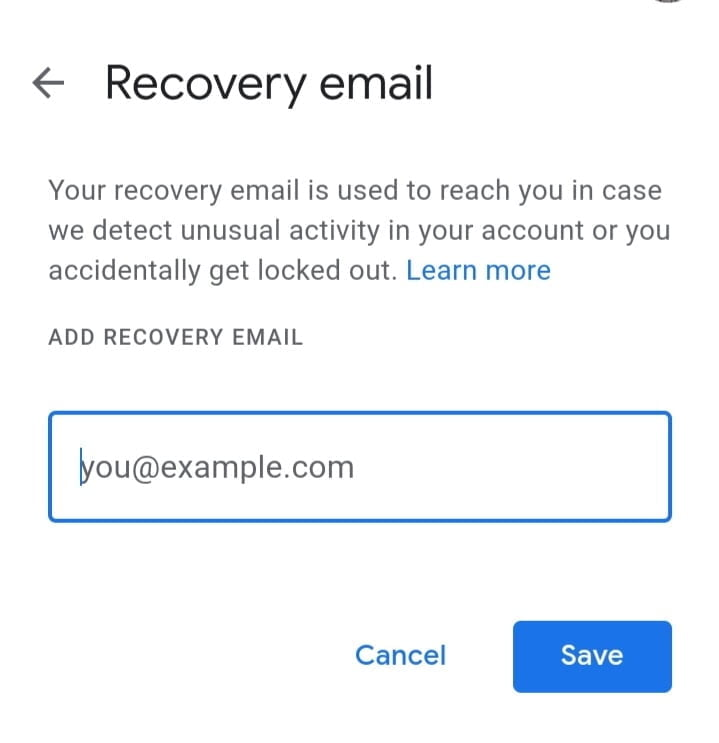 Use Recovery Email Address