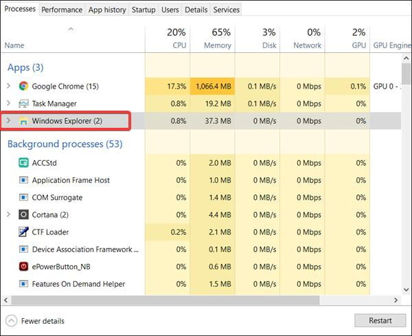 Locate Windows Explorer. Right-click on it and select Restart.